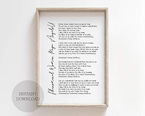 Farmhouse Frame Wood Sign, Maya Angelou Phenomenal Woman Poetry Quote Feminist Wall Art Poster Print Gift Poem Feminism International Women's Day Gift Book, 16 x 20 Inch Rustic Wood Sign with Frame