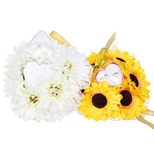 Amosfun Blumen-Hochzeits-Ring-Kissen für Sonnenliege und Hochzeiten, Keramik, Ringhalter für Verlobung, Party, Gastgeschenk