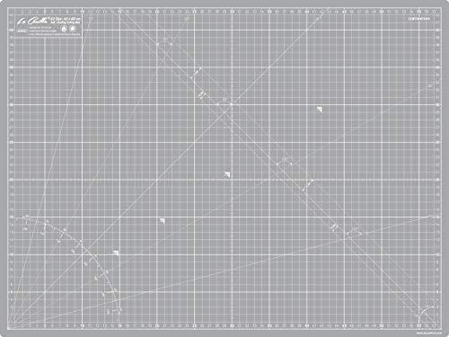 La Canilla ® - Selbstheilende Schneidematte A2 (60x45cm) Zentimeter und Zoll (beidseitig Bedruckt) 5 Schichten Recycling-PVC für Nähen, Basteln und Patchworken - Professionell Cutting Mat (Grau)