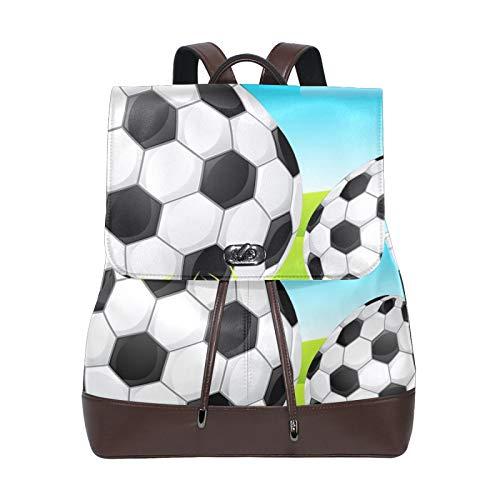 Frauen Rucksack Damen Rucksack Happy Ostereier Fußball PU Leder Schultaschen Daypack Schultertaschen