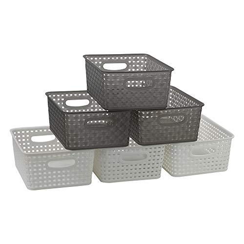 Rinboat Körbchen Korb Plastikkorb Haushaltskorb Aufbewahrungskörbe Kunststoff Weiß Transparent Grau, 6 Stück
