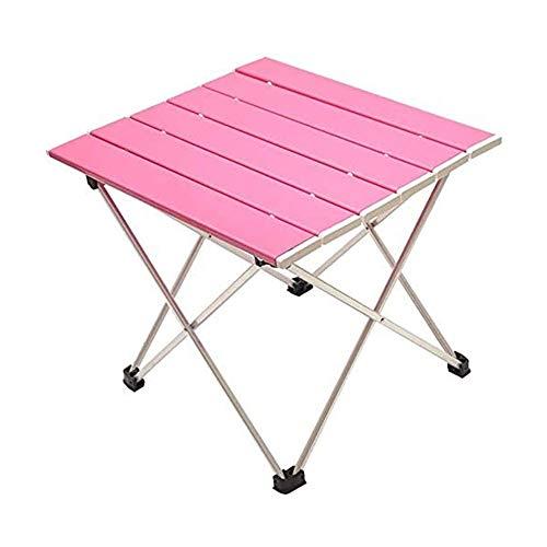 ZXGDF Mesa de Camping portátil, Mesa de Camping Plegable de Aluminio Ultraligero, con Bolsa de Transporte para Exteriores, Camping, Picnic, Playa, Pesca, Cocina (56.5 * 40.5 * 41cm,Pink)