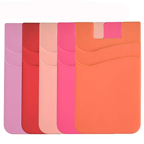 Card Holder for Back of Phone, Pouch Silicone Wallet Sleeve Pocket Stick-on ID Credit Card for iPhone/Samsung/All Smartphones