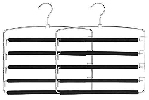YAOUNYC - Percha multifuncional para pantalones, 2 paquetes, duradero y resistente, bolsa de almacenamiento de espuma antideslizante para guardarropa