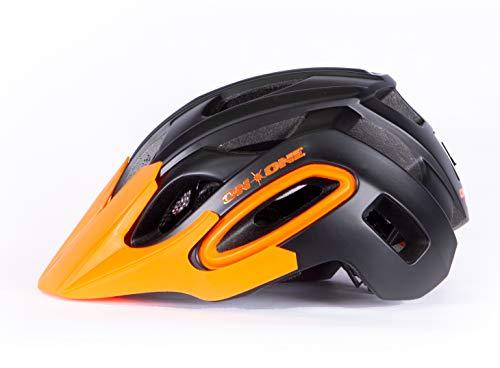 On-One Unisex Bike Helmet Enduro LED MTB Helmet (Small/Medium(55cm - 59cm) Matt Black - Orange)