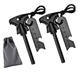 4.25 Inch Flint Fire Starter, Survival Ferro Rods Starter with Easy Grip Handle and Multifunction Striker, Waterproof Flint Fire Can be Struck 15000 Times for Camping, Hiking (Pack of 2) (E)