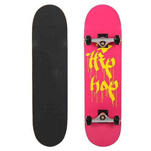 SALUTUYA 95A Hochelastischer Stoßdämpfer Allrad-Sport-Skateboard Maple Skateboard Silent Bearing für Skateboard-Liebhaber mit blinkendem Rad(Pretty, 79 * 10 * 20)