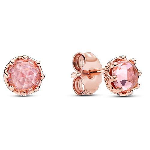 Pendientes plata Pandora rose circonita rosa