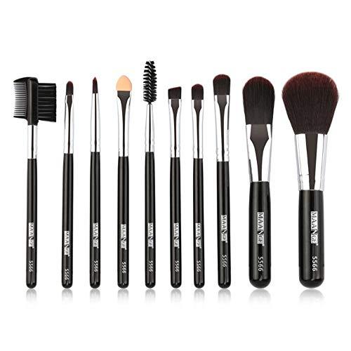 Ensemble de brosse de maquillage, 10pcs Premium Eye brosses cosmétiques pour eyeliner Eye Shadow sourcil, fibre synthétique poils cosmétiques mélange brosse outil,Black
