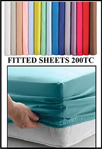 Bedtime Comforts Ltd STUDENT 3' SINGLE FITTED Sheet EXTRA LONG 3' X 7' (36' X 84') 22 COLOURS 200TC WHITE 13'