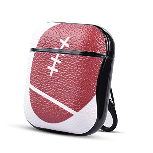 HIDAHE Airpods Case, Football AirPods Case, Airpods Skin, Airpods Accessories, Sport Pattern Leather Case Cover Men Boys Hard Case for Airpods 1 & 2 Charging Case, Sport Football