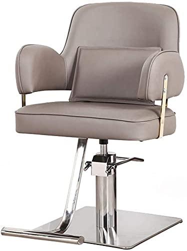 Silla de peluquero simple, silla de salón estilista, equipo de corte de pelo hidráulico pesado, adecuado para el corte de belleza/spa/barba, negro (Color : Gray)