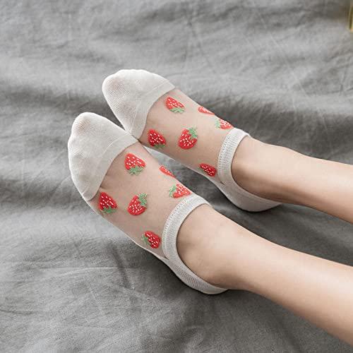MIWNXM 10 Pares Women's Ultra Thin Silk Socks Cute FruitStrawberries Crystal Sheer Lace Mesh Low Cut