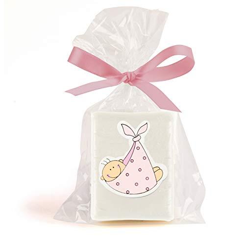 Disok - set met 25 zeep baby roze, gepresenteerd in cellofaan zakje + strik. Zeepdetails voor de doop, originele details voor de doop.