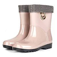 Wellies Boots/Rainブーツ/レディースウィンターウォームファッショントレンディな防水ブーツ/プラスベルベットレインブーツ/ウェルリーブーツ女性レインブーツ,ベージュ,37