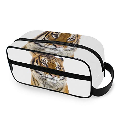 Trousse de maquillage Portable Storage Travel Tools Cosmetic Train Case Ladies Tiger Sit White Background Toiletry Pouch