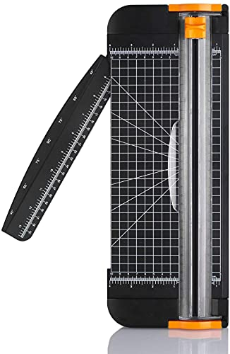 Paper Cutter, A4 Paper Trimmer Titanium Scrapbooking 12 inch with Automatic Security Safeguard and Side Ruler for Scrapbooking, Coupon, Craft Paper, Cardstock, Label and Photo