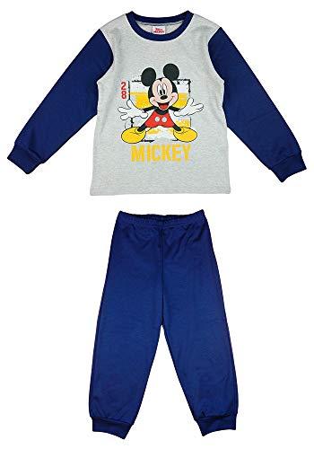 Mickey Mouse Maus Junge Zweiteiler Schlaf-Anzug Pyjama 100% Baumwolle Disney Gr. 86 92 98 104 110 für 1 2 3 4 Jahre Blau Langarm 2TeilerSet mit Pyjamahose (Modell 1, 92)