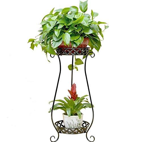 ZTMN Metallpflanzenständer, 2-stufiger Blumenständer, 70 cm bodenstehender Halter Rack Pot Plant Storage Display Regal für Eckgartenhaus im Freien Innen, Schwarz