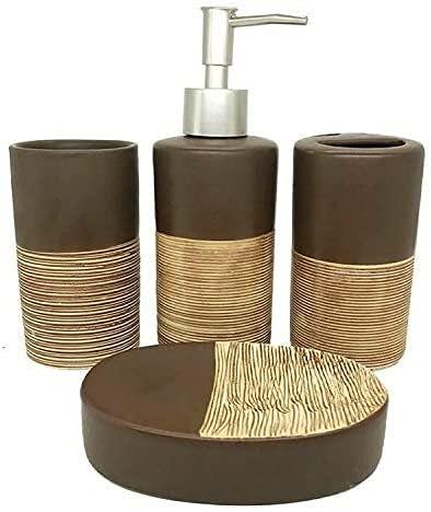 HKAFD Accesorios de baños de cerámica Conjunto de Lavado de Alto Grado Dispensador de jabón Suministros de baño Suministros de Regalo de Boda (Color : Brown, Size : Free)