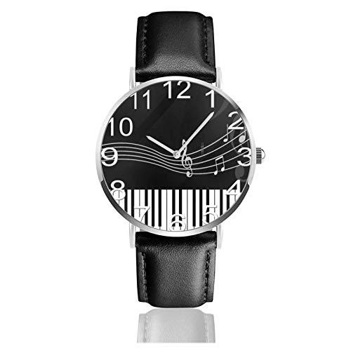 Reloj de Pulsera Notas Musicales Teclas de Piano Correa de Cuero sintético Duradero Relojes de Negocios de Cuarzo Reloj de Pulsera Informal Unisex