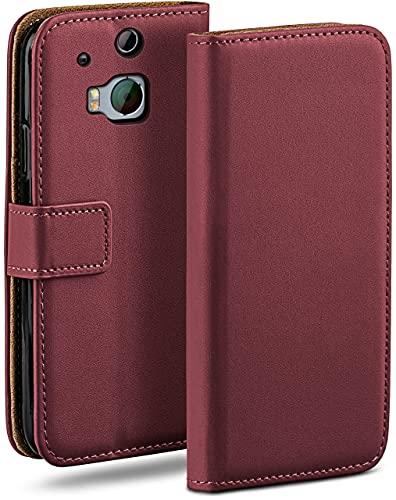 moex Klapphülle für HTC One M8 / M8s Hülle klappbar, Handyhülle mit Kartenfach, 360 Grad Schutzhülle zum klappen, Flip Hülle Book Cover, Vegan Leder Handytasche, Weinrot