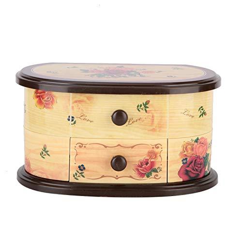 Omabeta Estuche de Almacenamiento con decoración de joyero con Espejo para Amigos(Cream Color)