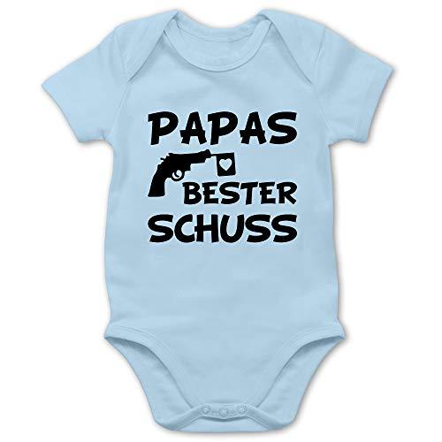 Vatertagsgeschenk Tochter & Sohn Baby - Papas Bester Treffer - 1/3 Monate - Babyblau - Babys Kleidung Junge 0-6 - BZ10 - Baby Body Kurzarm für Jungen und Mädchen