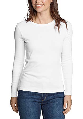 Eddie Bauer Damen Favorite Shirt - Langarm mit Rundhalsausschnitt, Gr. L (42/44), Weiß