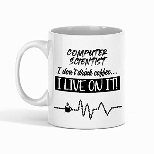 N\A Taza de café del informático - informático ¡No Bebo café, Vivo compañero de Trabajo - Tazas Divertidas, Regalos de un Amigo