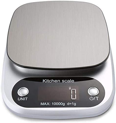 DFKDGL Küchenwaage Digitalwaage Professionelle Waage,Hohe Präzision auf bis zu 1g (10kg Maximalgewicht) Tara-Funktion aus Edelstahl mit Großem LCD-Display