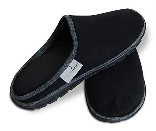 Memory Foam Pantuflas Zapatos de Estar en casa con talón Abierto, Unisex, Color Negro/Gris, Grande 29/30
