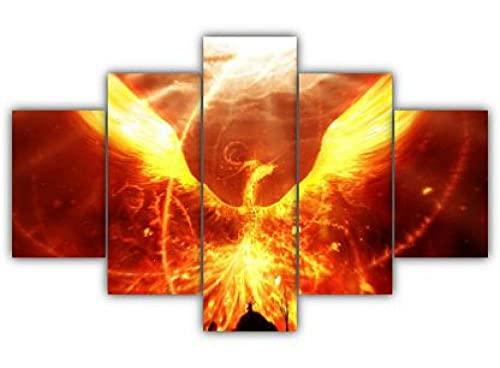 Impresiones 5 Pieza Impresiones sobre Lienzo 100X55CM Fénix de Fuego Cuadro En Lienzo 5 Piezas Impresión Material Tejido No Tejido Impresión Artística Imagen Gráfica Decoracion