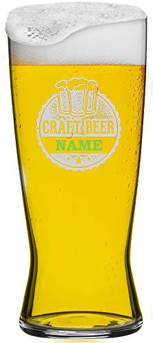 MeinGlas GmbH Helles Bierglas 0,5 l mit gratis Namensgravur. Veredeln Sie das hochwertige Bierglas einem persönlichen Namen als Gravur und erschaffen Sie EIN echtes Unikat