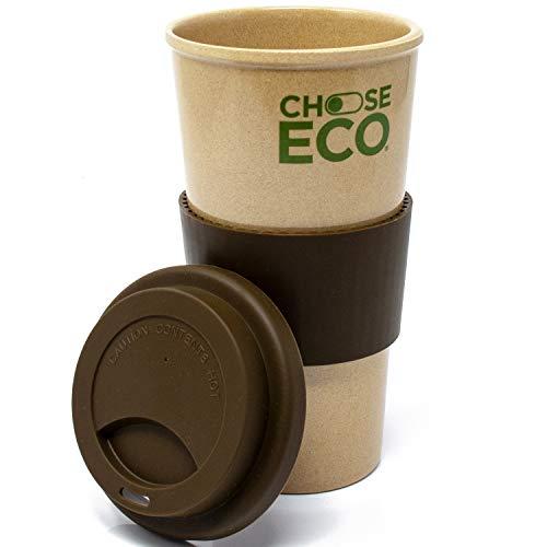 ChooseEco - Kaffeebecher 550ml Braun aus Reishülsen - 0% BPA - Umweltfreundlich & Nachhaltig - Coffee to Go Mehrwegbecher Spülmaschinenfest