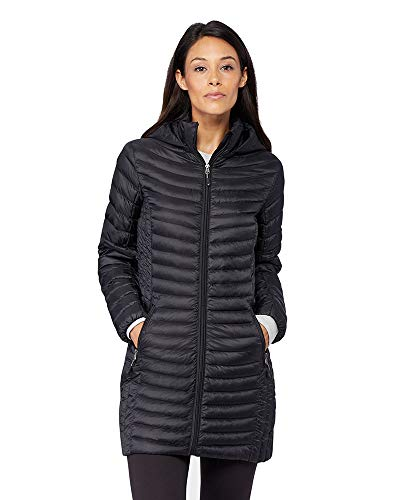 32 DEGREES Womens Ultra-Light Down Long Packable Jacket, Black, Size Small