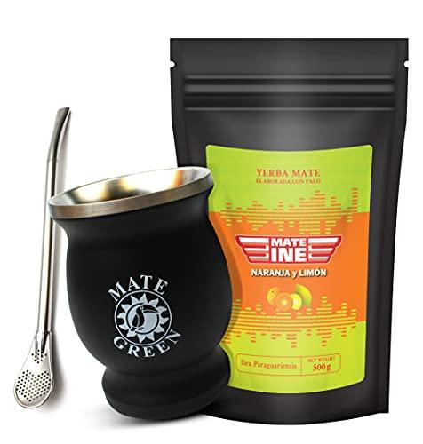Mateine Yerba Mate Tee 500g, NARANJA Y LIMON, Edelstahl-Thermobecher 230ml mit Bombilla, Fruchtig-krautiger Paraguayan Mate Tee, Ideal für Terere, 700 g