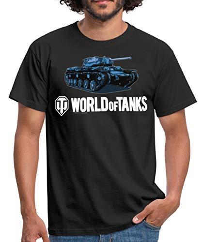 World of Tanks Panzer Blue Tank Männer T-Shirt, XL, Schwarz