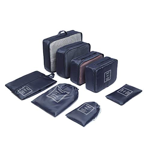 Kono 8 Pcs Packing Cubes Set for Suitcase Luggage Organiser Bag Pouches (Navy)