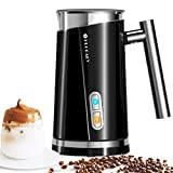 HUOGARY Milk Frother, Black Electric Milk Steamer Cup for Milk Foam & Heating Milk (4.5oz/10.5oz), Auto-Stop Milk Foam Maker for Homemade Coffee, Easy to Use and Clean, Comes with Foam Whisk and Hot Milk Whisk