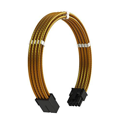 LINKUP - 8 Pines (6+2) GPU PCI-E Fuente de Alimentación PSU Cable de Extensión de PC Personalizado con Funda Trenzada y Peine┃Un Solo Paquete┃30CM 300MM - Oro Metalizado
