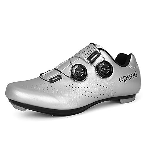 Mens or Womens Road Bike Cycling Shoes Peloton Bike Shoes Compatible SPD Riding Shoe Indoor/Outdoor Size Men's 4.5/Women's 6.5 Silver