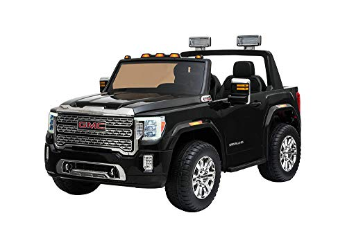 Dakott GMC Sierra Denali HD Two Seater 12 Volt Ride-On Truck, Black, Large