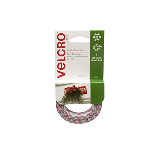 VELCRO Brand - Holiday Decor Wrap Ribbon, 10ft x 3/4In Roll, Chevron