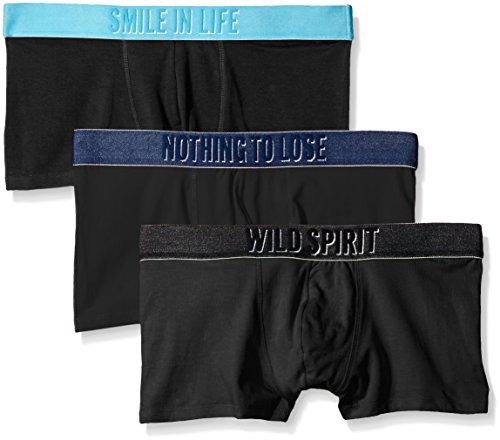 Diesel Boxershorts voor heren, set van 3 stuks, zwart met message-band voor heren