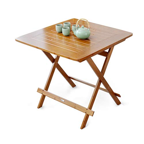 YShop Table Pliante en Bambou d'extérieur, Table d'appoint de Table carrée Brun, Table de Barbecue de Jardin, for la Maison Salon Chambre Bureau (Size : 60cm)