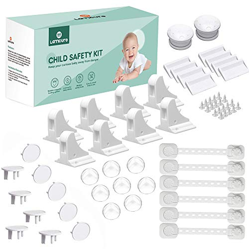LATTCURE Baby Proofing, 36 Pcs Baby Safety Locks - 8 Magnetic Cupboard Locks+2 Keys, 8 Corner Protectors, 8 Child Safety Cupboard Straps, 10 Socket Covers Protectors/Guards