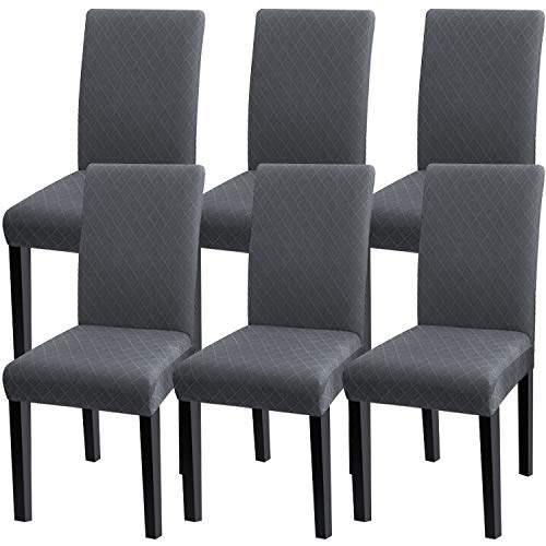 Fuloon 6 Pack Super Fit Stretch Removable Washable Short Dining Chair Protector Cover Seat Slipcover for Hotel,Dining Room,Ceremony,Banquet Wedding Party (Dark Gray)