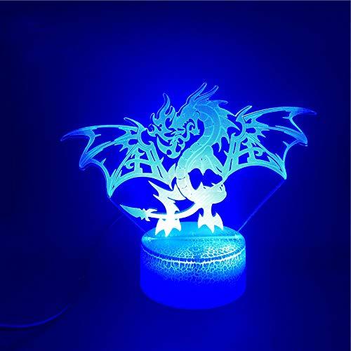 3D Illusionslampe LED Nachtlicht Western Dragons Wecker Basis Direkt Einzigartig Upply Bright Base 7 Farbe Mit Remote Living Room