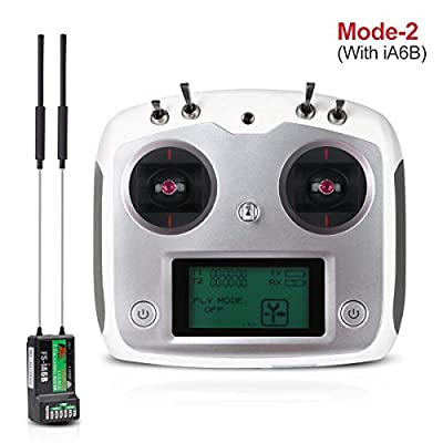 Flysky FS-I6S Radio Transmitter 10CH ( Touch Screen , 10 Channels , Tx 2.4G ) with FS-IA6B RC Receiver for FPV Racing RC Drone Quadcopter by LITEBEE ( MODE-2 Left Hand Throttle)